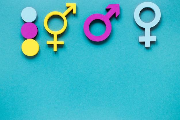 Conceito de símbolos coloridos de direitos iguais