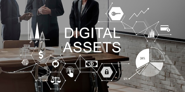 Conceito de sistema de gestão de negócios de ativos digitais