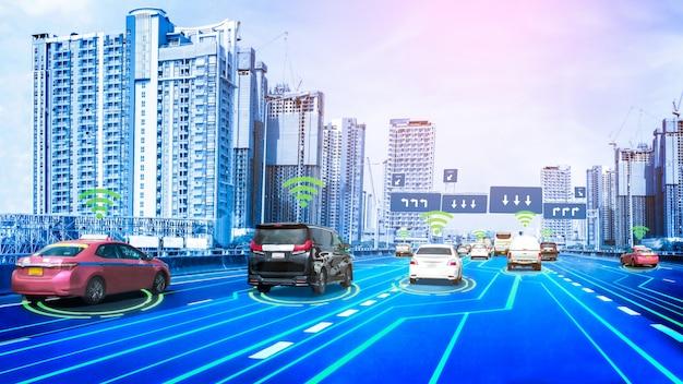 Conceito de sistema de sensor de carro autônomo para segurança de controle de carro em modo sem motorista