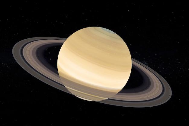 Conceito de sistema solar. vista completa do grande planeta saturno com anéis do espaço em um fundo de céu negro. elementos desta imagem fornecidos pela nasa. renderização 3d