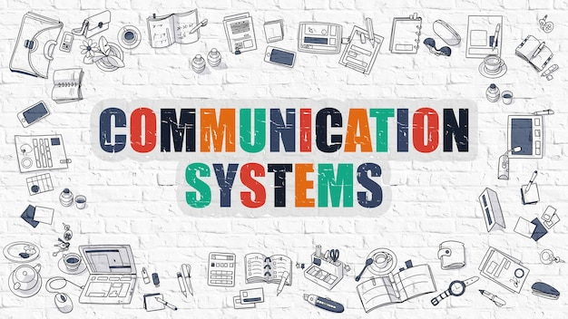 Conceito de sistemas de comunicação. illustation de estilo de linha moderno. sistemas de comunicação multicolor desenhados na parede de tijolo branco. ícones do doodle. estilo de design doodle do conceito de sistemas de comunicação.