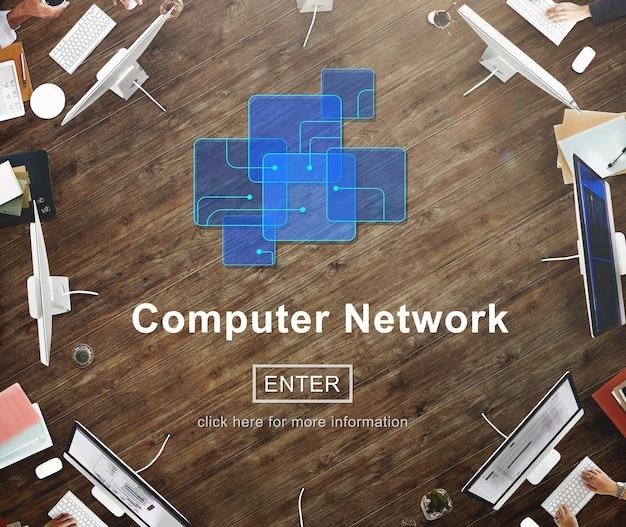 Conceito de site on-line de tecnologia de rede de computadores