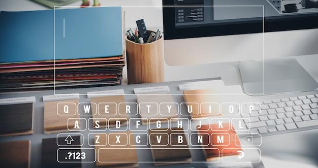 Conceito de sms de texto de mensagem de teclado