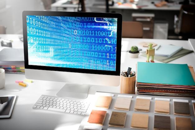 Conceito de software de tecnologia de dígitos de código binário