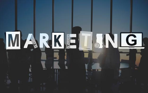 Conceito de solução de comércio de negócios de estratégia de marketing