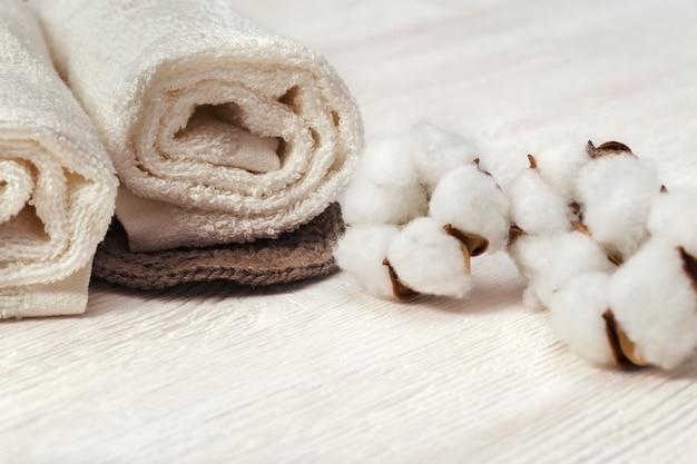 Conceito de spa. planta de flor de algodão e toalha de algodão enrolada. foto em tons.