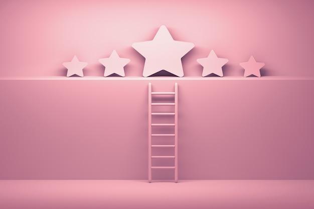 Conceito de sucesso. cinco estrelas com escada nas cores brancas rosa.