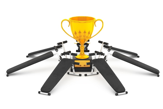 Conceito de sucesso de aptidão. equipamento de banco de ginástica em torno do troféu de ouro em um fundo branco. renderização 3d