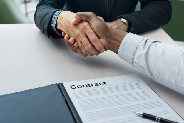 Conceito de sucesso de colaboração de aperto de mão de negócios