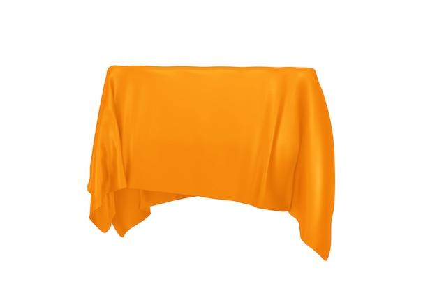Conceito de surpresa, prêmio ou prêmio. objeto oculto coberto com pano de seda laranja em um fundo branco. renderização 3d