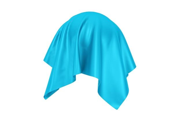 Conceito de surpresa, prêmio ou prêmio. objeto oculto coberto com tecido de seda azul em um fundo branco. renderização 3d