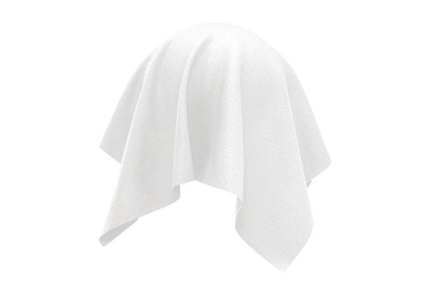 Conceito de surpresa, prêmio ou prêmio. objeto oculto coberto com tecido de seda branco sobre um fundo branco. renderização 3d