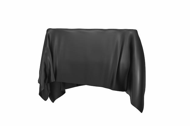 Conceito de surpresa, prêmio ou prêmio. objeto oculto coberto com tecido de seda preta sobre fundo branco. renderização 3d