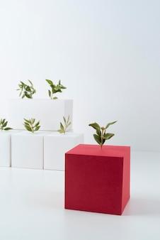 Conceito de sustentabilidade com formas geométricas em branco e planta em crescimento