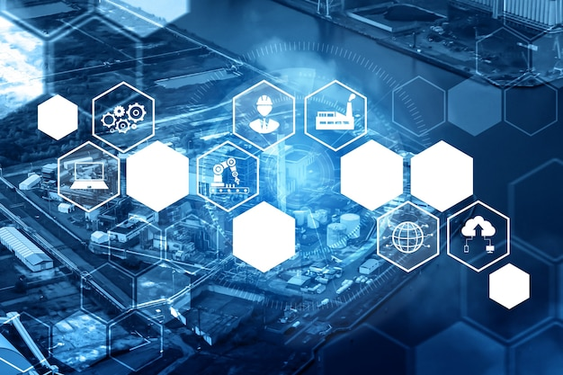 Conceito de tecnologia da indústria 4.0. fábrica inteligente para a quarta revolução industrial