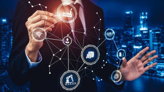 Conceito de tecnologia da indústria 4.0 - fábrica inteligente para a quarta revolução industrial
