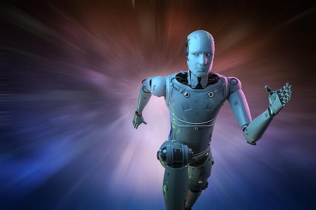 Conceito de tecnologia de alta velocidade com execução de robô de inteligência artificial