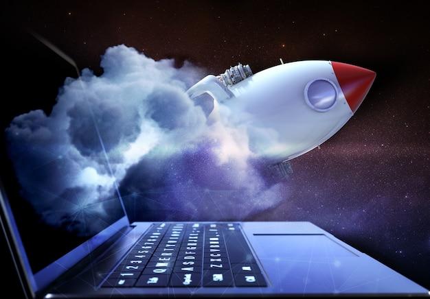 Conceito de tecnologia de alta velocidade com ônibus espacial
