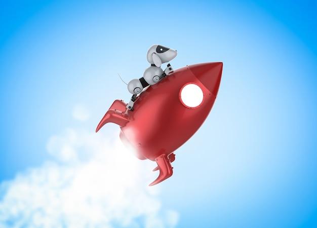 Conceito de tecnologia de alta velocidade com robô andando em ônibus espacial