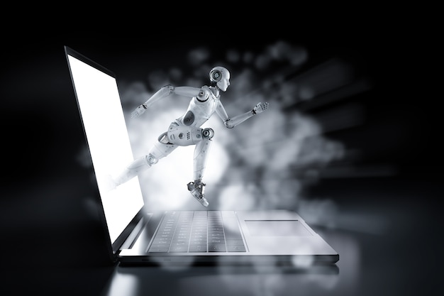 Conceito de tecnologia de alta velocidade com robô sem notebook