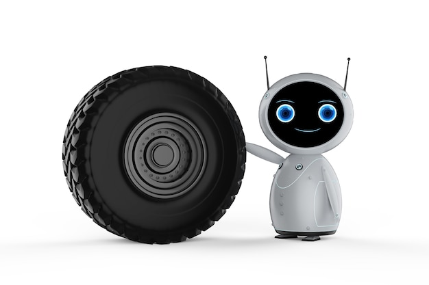 Conceito de tecnologia de aviação com robô amigável de renderização em 3d com motor a jato