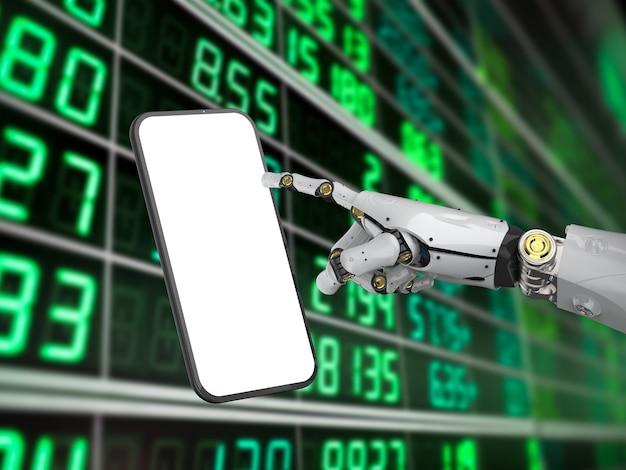 Conceito de tecnologia de banco móvel com renderização em 3d ciborgue de inteligência artificial ou mão de robô com tela em branco do telefone móvel