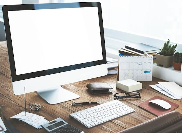 Conceito de tecnologia de computador de negócios de espaço de trabalho