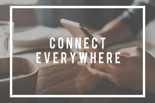 Conceito de tecnologia de conexão de comunicação de navegação