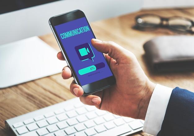 Conceito de tecnologia de conexão de comunicação global de teleconferência