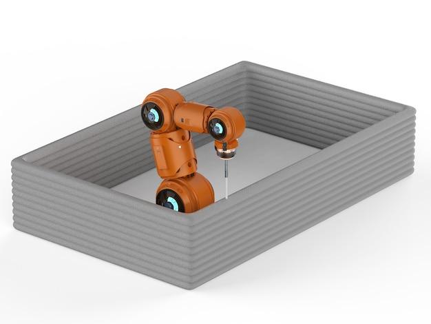 Conceito de tecnologia de construção com casa de construção de soldador robô