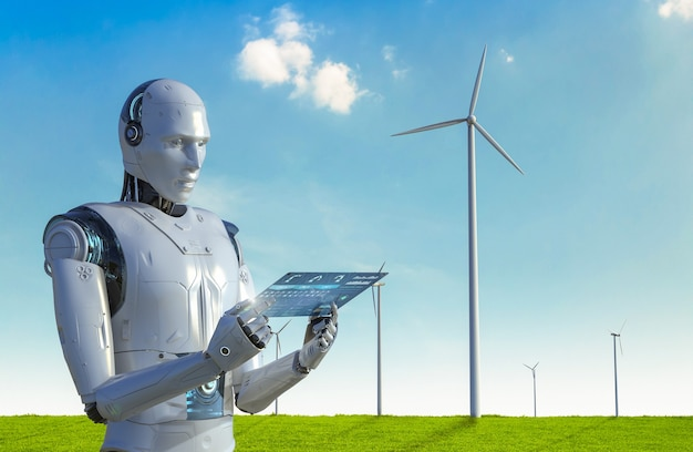 Conceito de tecnologia de energia verde com renderização em 3d de trabalho ciborgue em parque eólico
