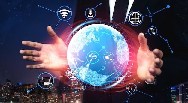 Conceito de tecnologia de rede de mídia social e pessoas
