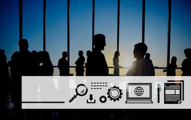 Conceito de tecnologia de rede global símbolo ícone digital
