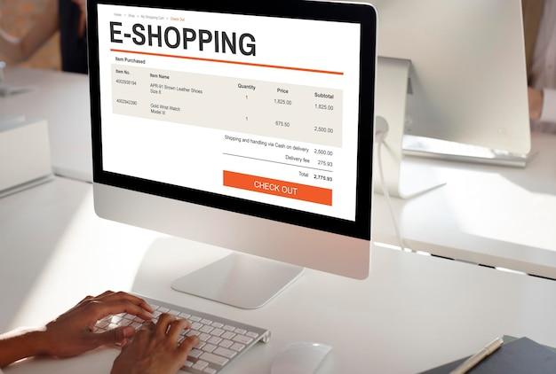 Conceito de tecnologia de site de compras on-line de comércio eletrônico