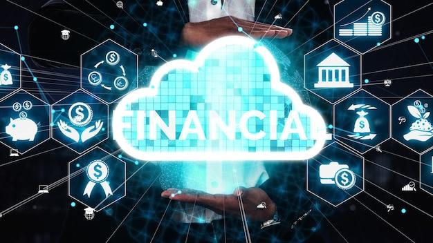 Conceito de tecnologia de transação financeira e monetária