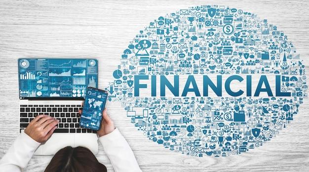 Conceito de tecnologia de transações financeiras e monetárias