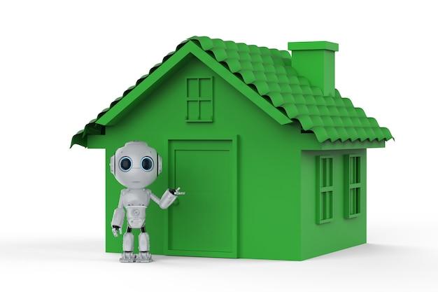 Conceito de tecnologia de vida ecológica com mini robô e casa verde