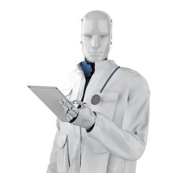Conceito de tecnologia médica com renderização em 3d robô médico com terno branco isolado no branco