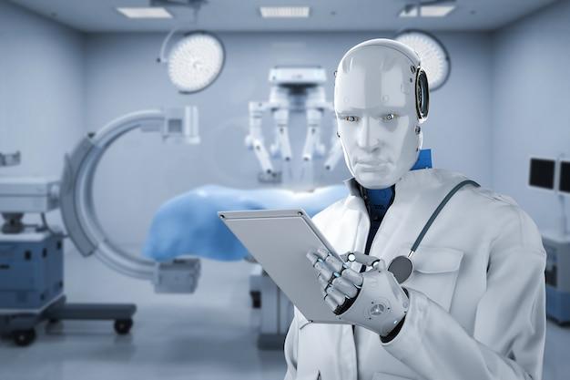 Conceito de tecnologia médica com robô médico de renderização 3d com robô de cirurgia na sala de cirurgia