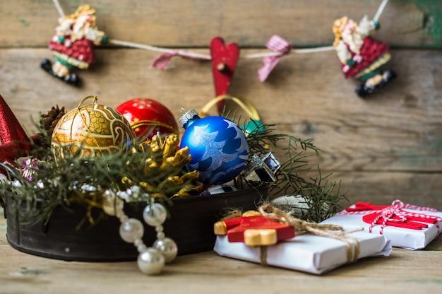 Conceito de tempo de natal com presentes e decoração