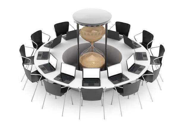 Conceito de tempo de negócios. cadeiras em torno de uma mesa com relógio de areia no meio em um fundo branco.