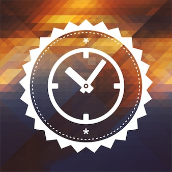 Conceito de tempo - ícone da face do relógio. design de rótulo retrô. fundo de hipster feito de triângulos, efeito de fluxo de cor.