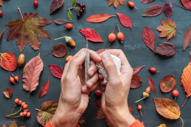 Conceito de temporada de resfriados e gripes. vista superior das mãos do homem segurando um termômetro de mercúrio, tecido, folhas caídas de outono coloridas, bagas (roseira brava, rowan, espinheiro), bolotas, superfície azul marinho do grunge.