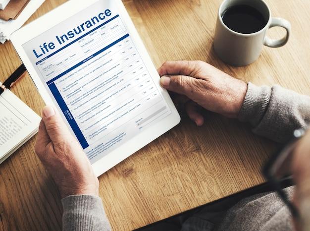 Conceito de termos de uso de apólice de seguro de vida