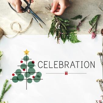 Conceito de tinsel de celebração de árvore de natal