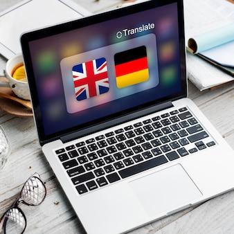 Conceito de tradução de palavras estrangeiras de países da bandeira