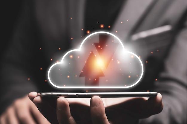 Conceito de transformação de tecnologia de computação em nuvem.