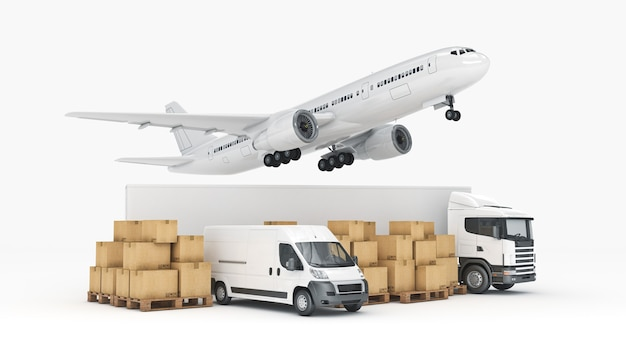 Conceito de transporte de carga em todo o mundo renderização em 3d