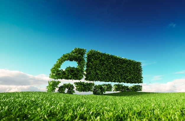 Conceito de transporte ecológico. renderização 3d do ícone do caminhão verde verde no prado fresco da primavera com o céu azul no fundo.
