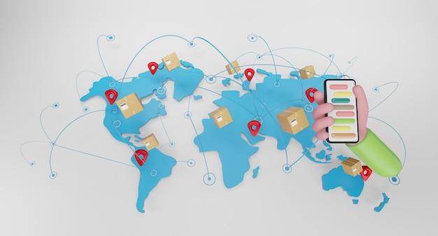 Conceito de transporte mundial com caixas de pacote no mapa do globo do mundo. conceito de entrega expressa, envio rápido, ilustração 3d